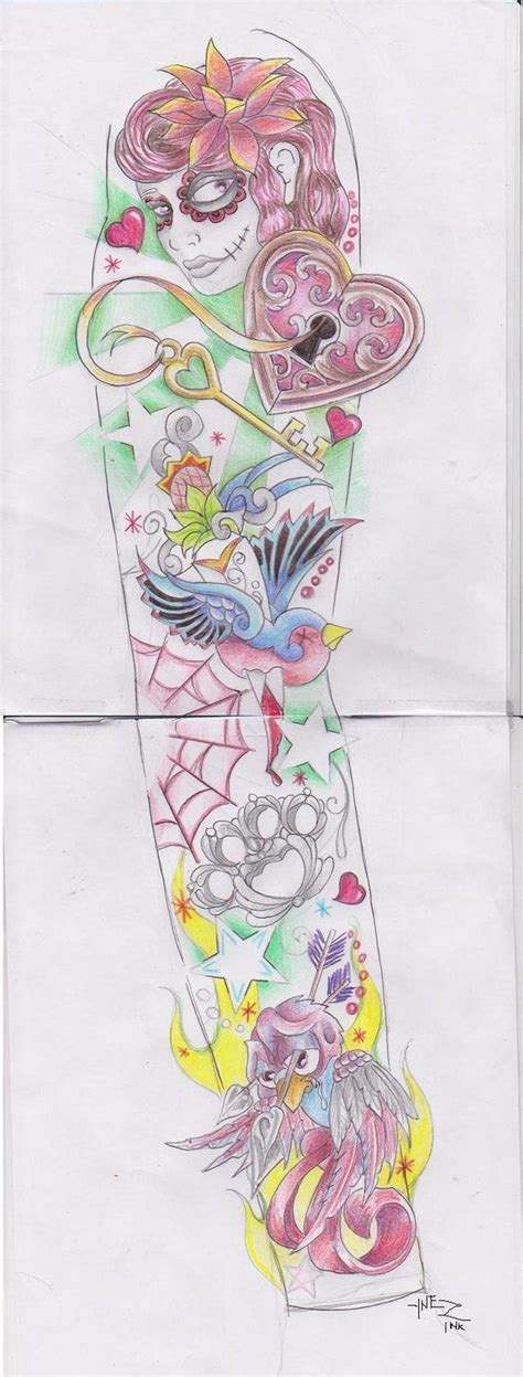 girly sleeve tattoo girly sleeve by kymynez on deviantart tattoos