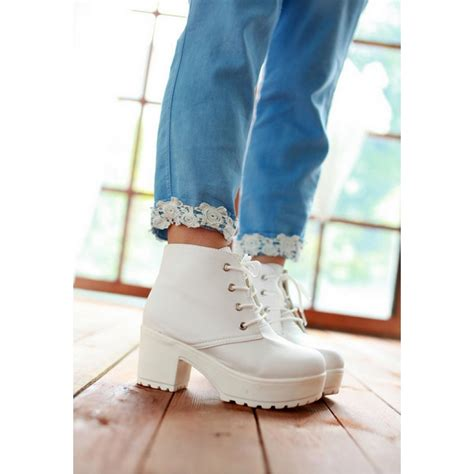 white leather platform lace up heel boots