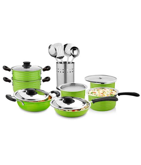 Kitchen Cookware Sets by Cookaid Green Kitchen Cookware Set Of 15 Buy At