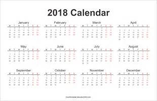 Calendar 2018 Printable Yearly Free Printable Calendar 2018