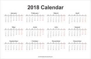 Calendar 2018 To Print Free Printable Calendar 2018