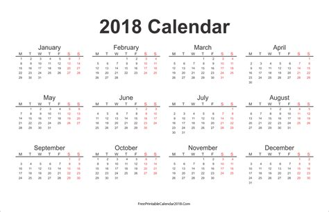 printable yearly calendar 2018 free printable calendar 2018 with holidays in word excel pdf