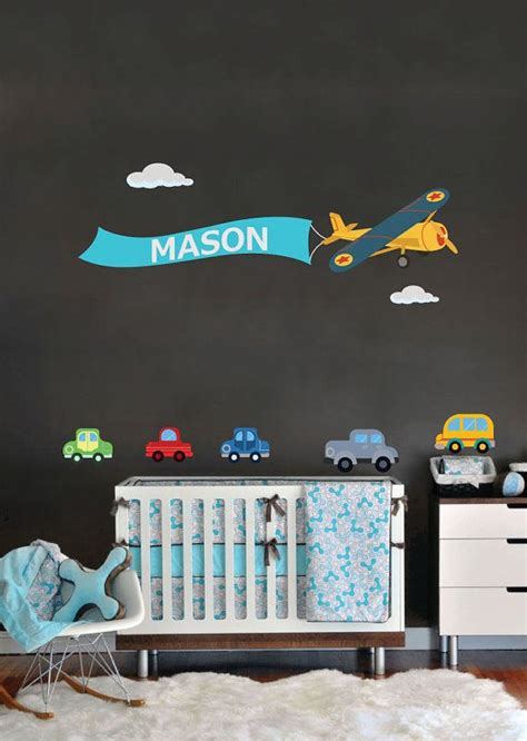 Airplane Wall Decals For Nursery Nursery Wall Decal Name Plane Cars Decal For Nursery Removable Reusable Fabric Vinyl