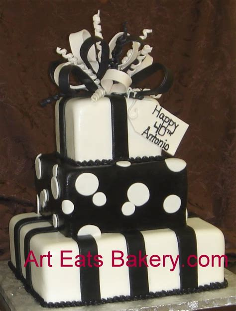 Home Decor In Greenville Sc by Three Tier Square Black And White Fondant Custom Presents