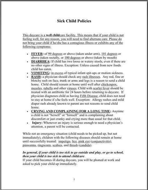 Li L Angels Home Daycare Sick Child Policy Classroom Organization Pinterest Home Daycare Child Care Policies And Procedures Template