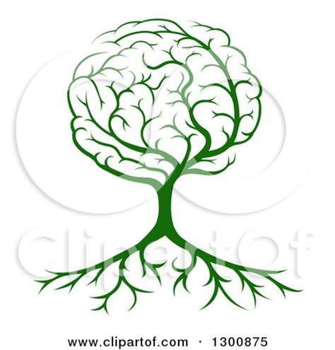 brain tree light up clipart of a green tree with a brain canopy and roots