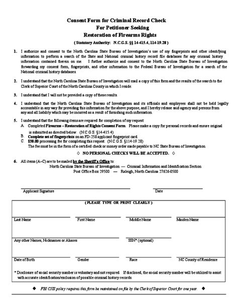 Nc Criminal Record Check Consent Form For Criminal Record Check For Petitioner Seeking Restoration Of Firearms