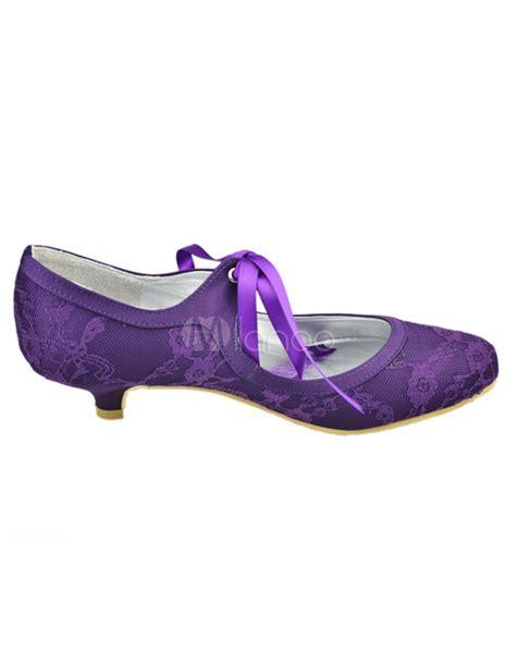 flower purple shoes purple toe flower lace wedding shoes milanoo