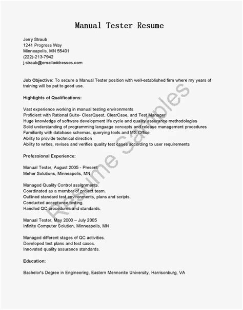 Manual Testing Resume Sle sle resume of manual tester 28 images 100 manual