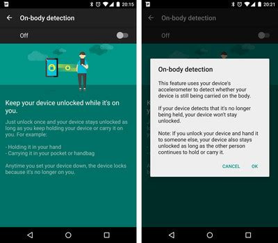 android pattern detection smart lock on body detection now rolling out to lollipop