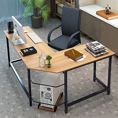 table l for study tribesigns modern l shaped desk corner computer desk pc