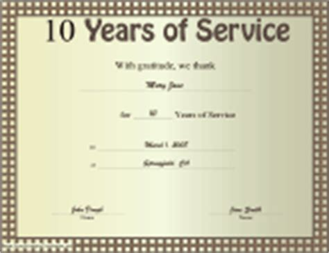 10 year service award certificate template business certificates free printable certificates