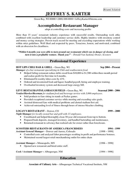 resume templates for restaurant managers sle resume cover letter format
