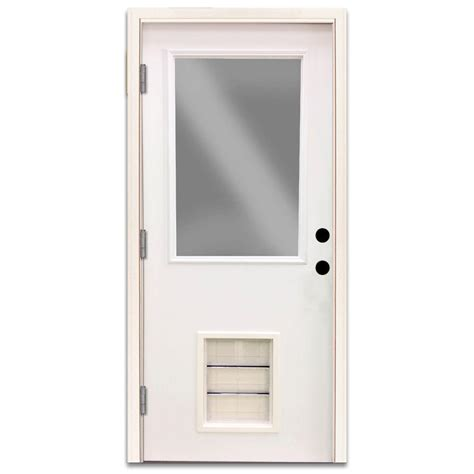 Half Lite Exterior Door Steves Sons 30 In X 80 In Premium Half Lite Primed White Steel Prehung Front Door With Large