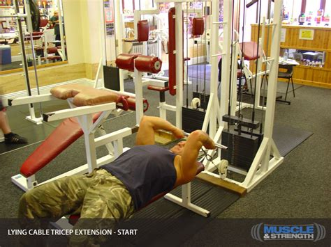 lying tricep cable extension flat bench lying cable tricep extension video exercise guide tips muscle strength
