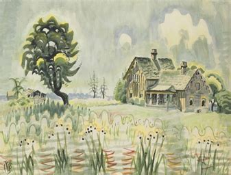 J S Painting Utica Ny by Charles Ephraim Burchfield 1893 1967 Country Home In