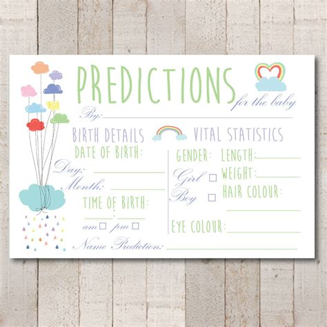 baby shower prediction cards template rainbow baby shower prediction set of 10 cards by