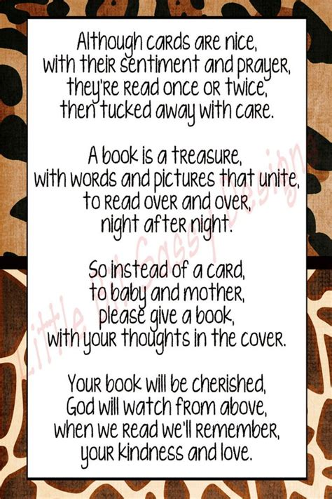 Baby Shower Poem For Gift Card by Items Similar To Baby Shower Poem Insert Card A Book Is A