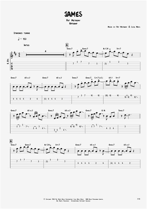 by pat metheny score guitar pro tab mysongbook