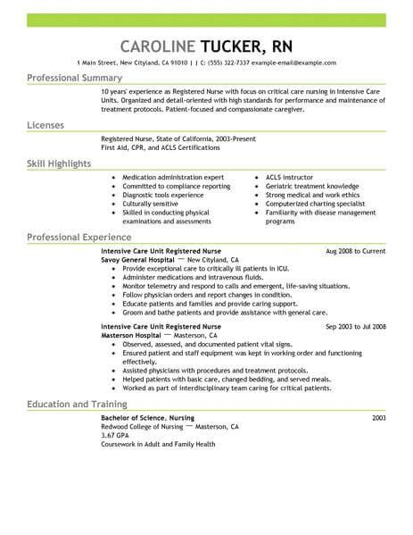 Critical Care Resume by Critical Care Nursing Resume Resume Ideas