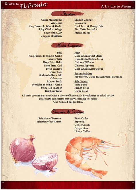 la carte menu brasseria el prado a la carte menu