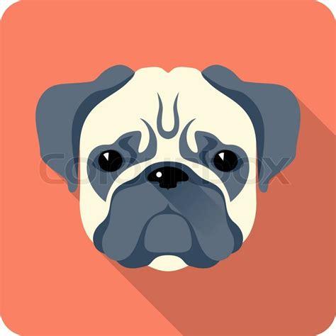 pug flats pug icon flat design stock vector colourbox