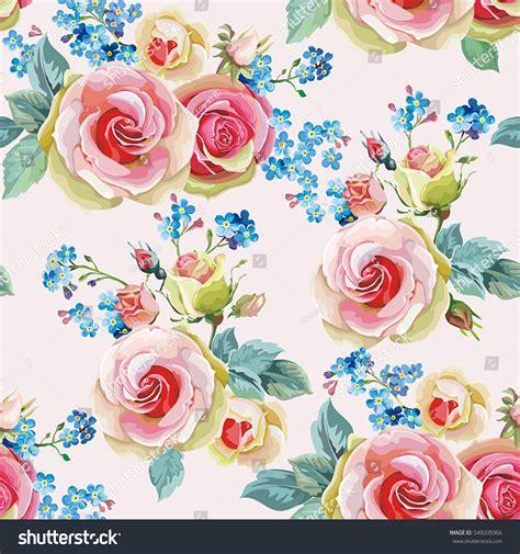 english rose pattern vector english roses seamless pattern spring vintage stock vector