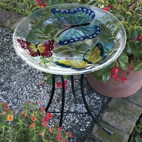 glass birdbath with stand outdoor spaces pinterest