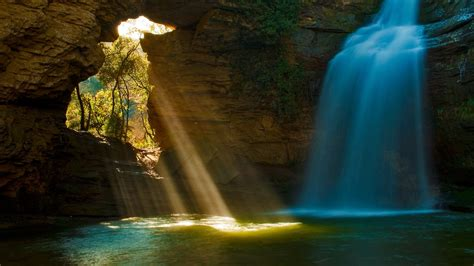 wallpaper cave waterfalls sun rays trees water