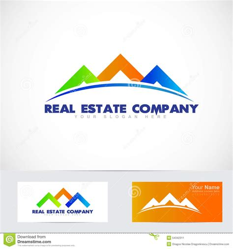 blue house realty colored house real estate logo stock vector image 54342311