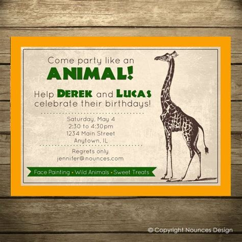 zoo themed birthday invitations safari party birthday invitation zoo theme wild animal by