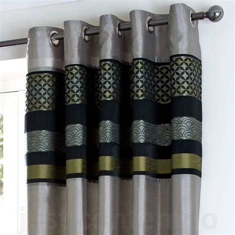 black silver curtains black silver green grey lime luxury eyelet curtain