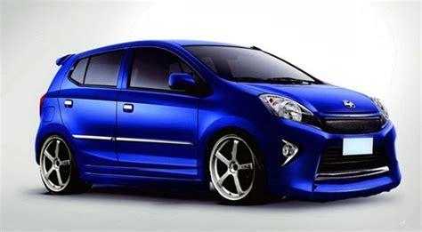 Bemper Mobil Agya modifikasi toyota agya warna biru dengan velg racing dan