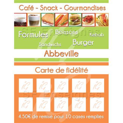 Carte Snack Modele