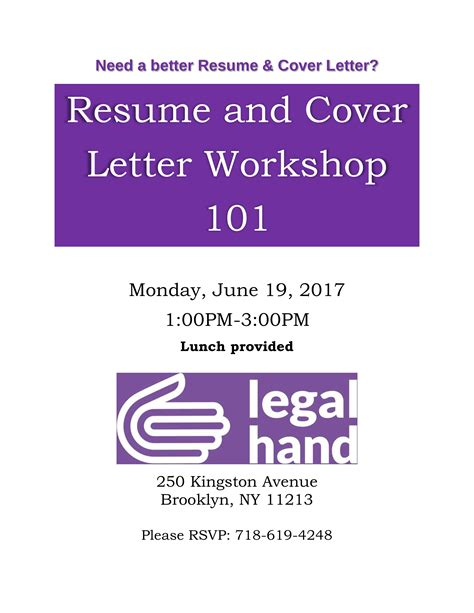 Cover Letter For Workshop by Resume And Cover Letter Workshop Crown Heights Mediation Center