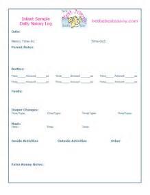 Nanny Log Sheet Templates by Nanny Daily Log Sheets