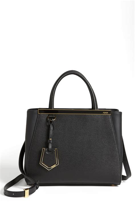 Fendi 2jours Tricolours fendi petit 2jours elite leather shopper in black lyst