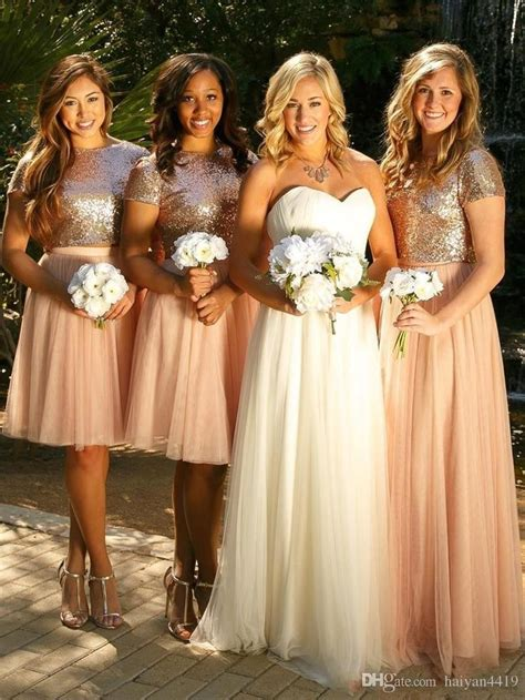blush pink bridesmaid dresses  pieces sequined