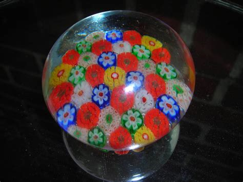 Glass Paper Weight - vintage glass paperweight flowers italy glass