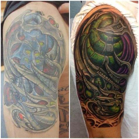 biomechanical tattoo cover up by mark haley at big ink