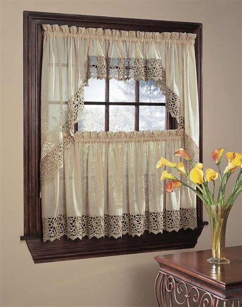 curtain setting bali lace 5 piece kitchen curtain tier set curtainworks com