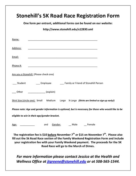 race registration form template best photos of register form template workshop