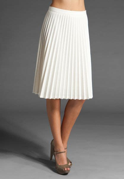 shaye pleated skirt in white ivory lyst