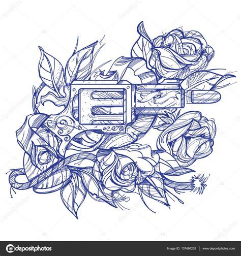 armas y rosas tatuaje estilo de dibujo a mano imagen para