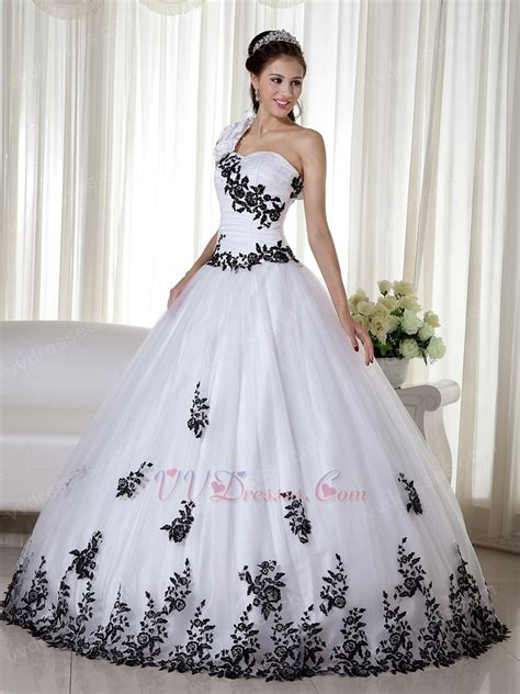 black quinceanera dresses one shoulder white quinceanera dress with black leaves