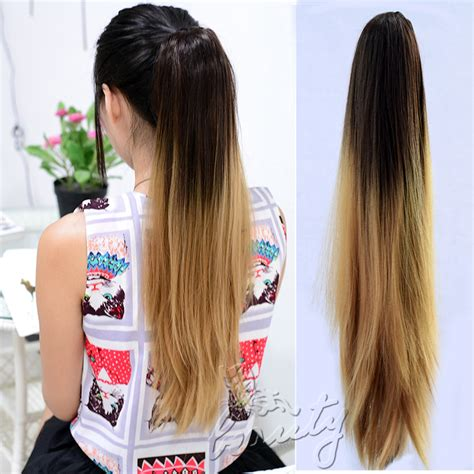 Hairclip Ombreponytailwig best clip in ponytail 20 quot dip dye color ombre hair extension a ebay