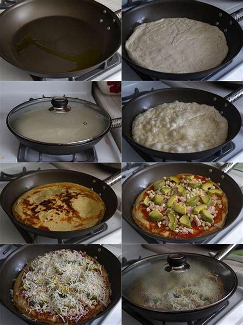 how to make skillet pizza on the stove top recipe the roasted corn avocado and tuna fry pan pizza la fuji mama