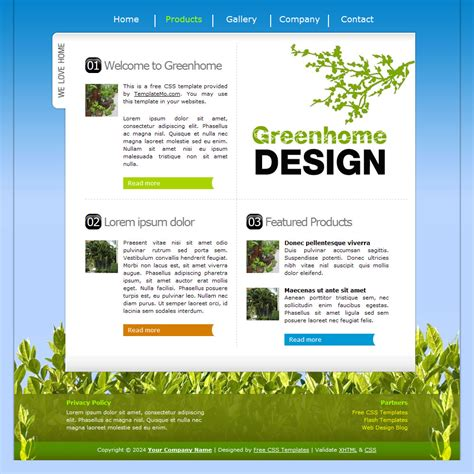 layout xhtml template 132 greenhome