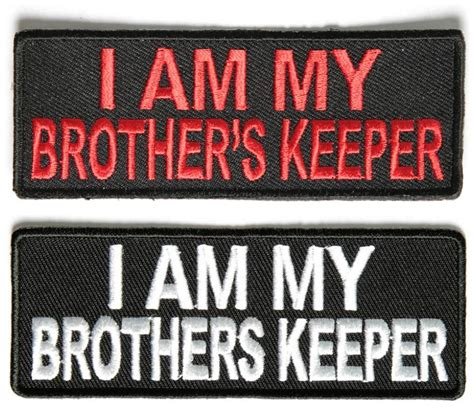 am my brothers keeper black i am my brothers keeper patches white embroidery on