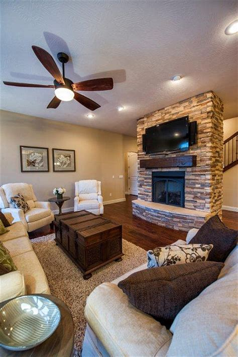 great room living room stone fireplace transitional